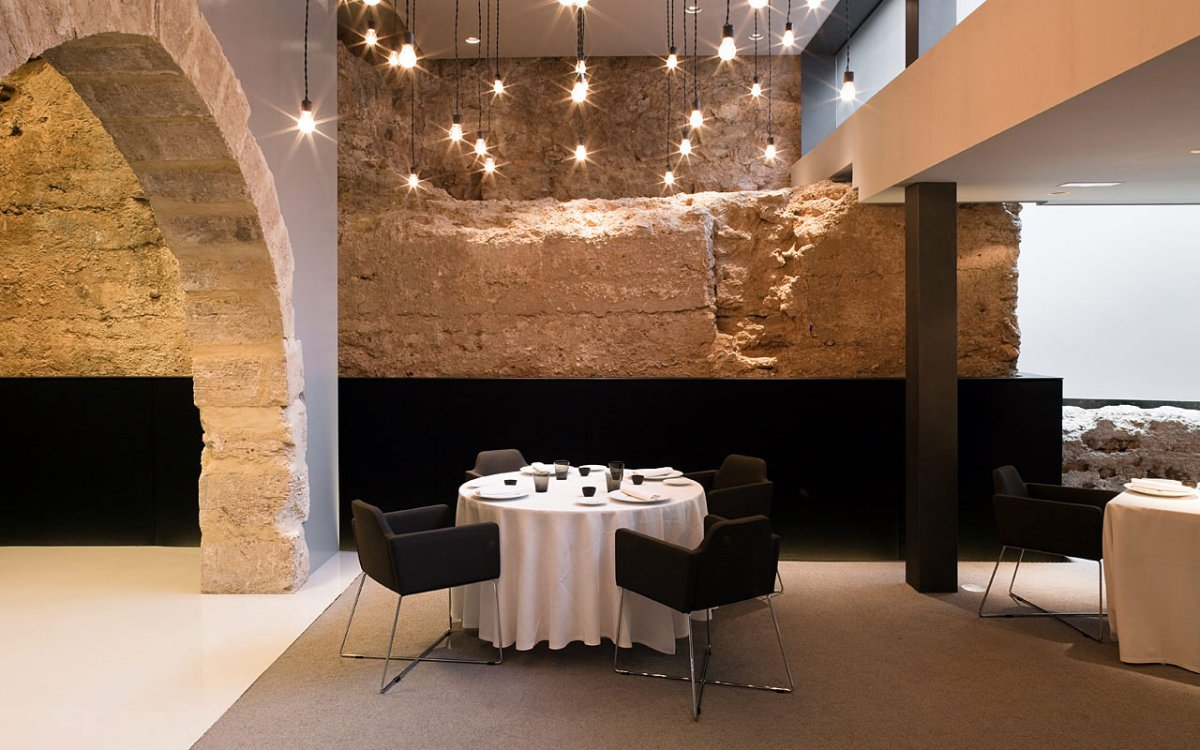 Hotel Caro in Valencia Spain. Mix of old walls with modern furnishings