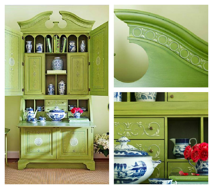 Secretary In Pale Lime Green. Itu0027s Beautiful As Painted Furniture.  Chartreuse Infloral Bouquets