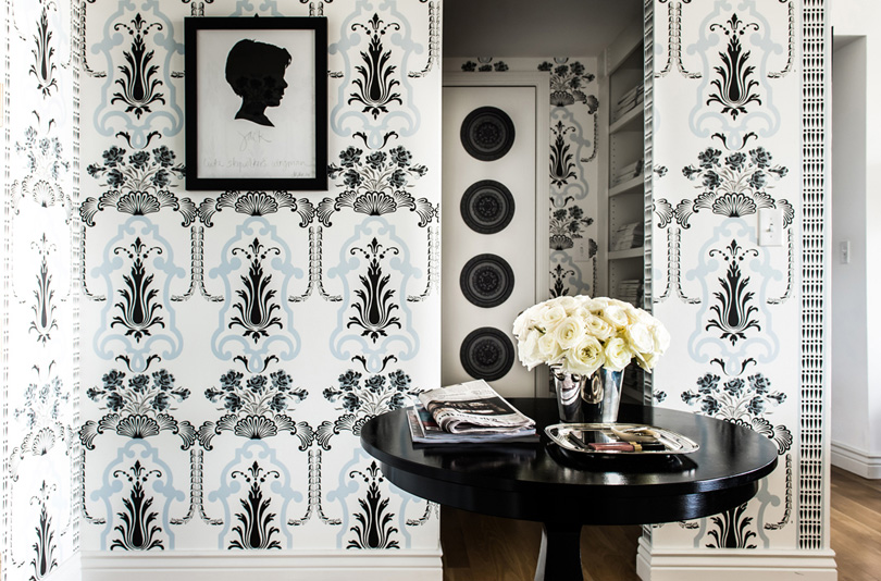black-blue-feminine-wallpaper-art-nouveau Janet Rice home from the Lennox