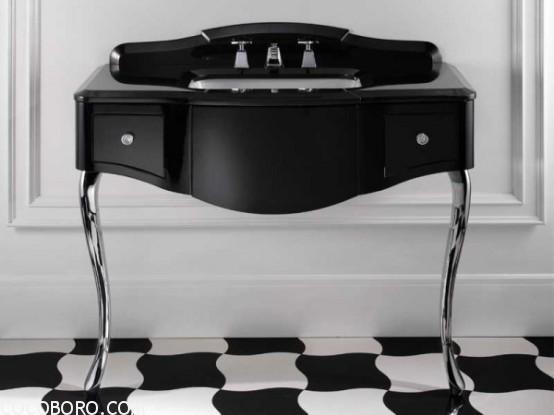 graceful black sink and vanity