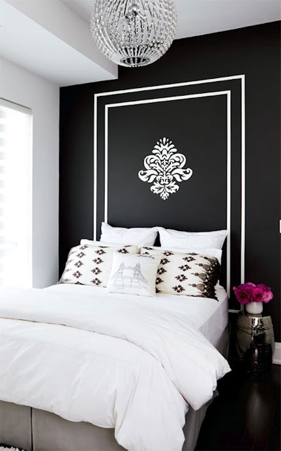 blackwall bedroom with gold stencil and headboard impressive interior design