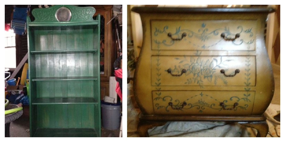 an antique bookcase and a bombe chest before a transformation
