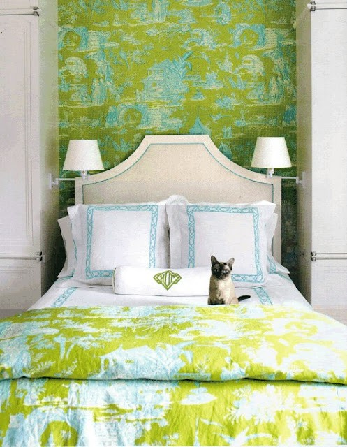 lime green bedding and wallpaper