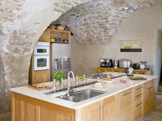 rustic stone kitchen in Provence
