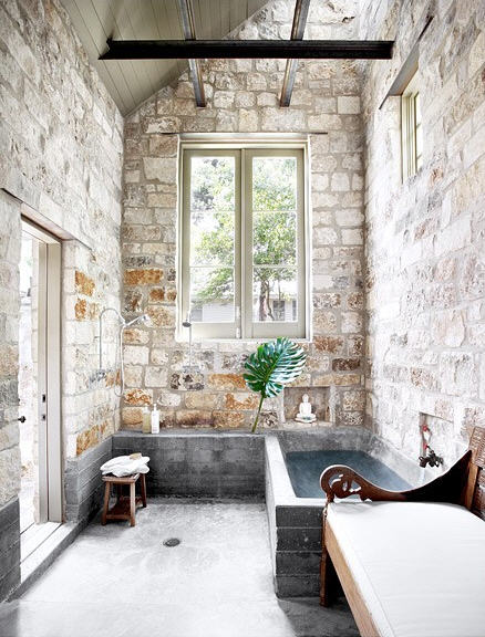 beautiful stone walled bath by Ryan Ford