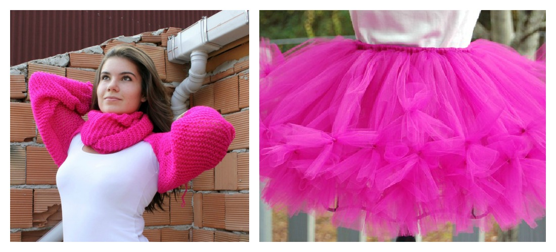 fuchsia scarf and fuchsia tutus, etsy fuchsia clothing for sale