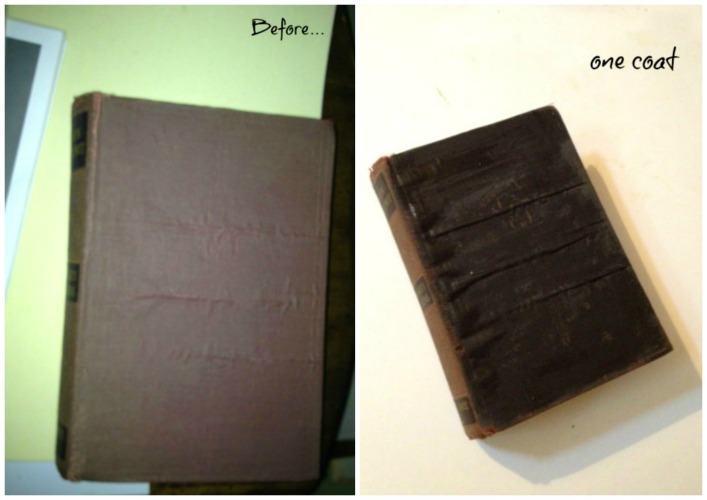 applying milk paint to an old book