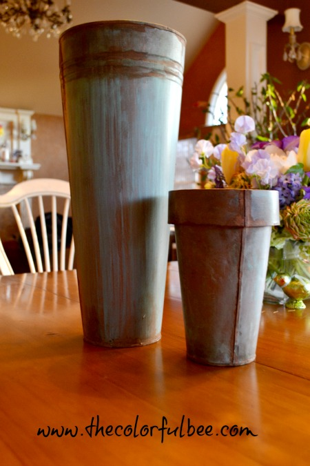 verdigris and faux rust change the look of a vase