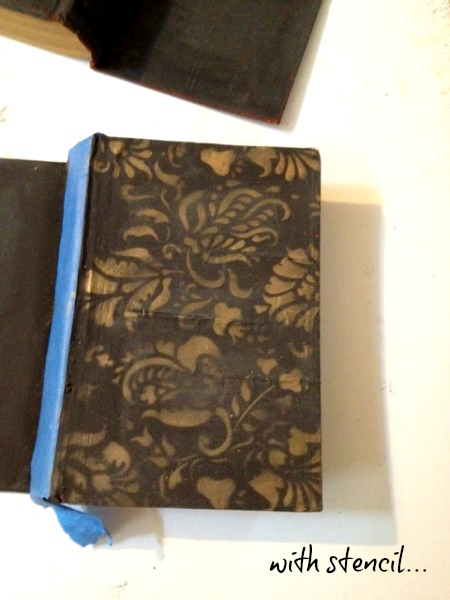 old book revamped with Milk Paint and brocade stencil