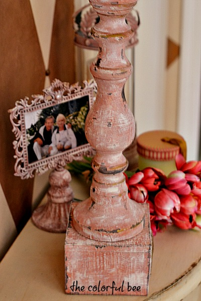 a candleholder and frame revamped with Annie Sloan Chalk Painr