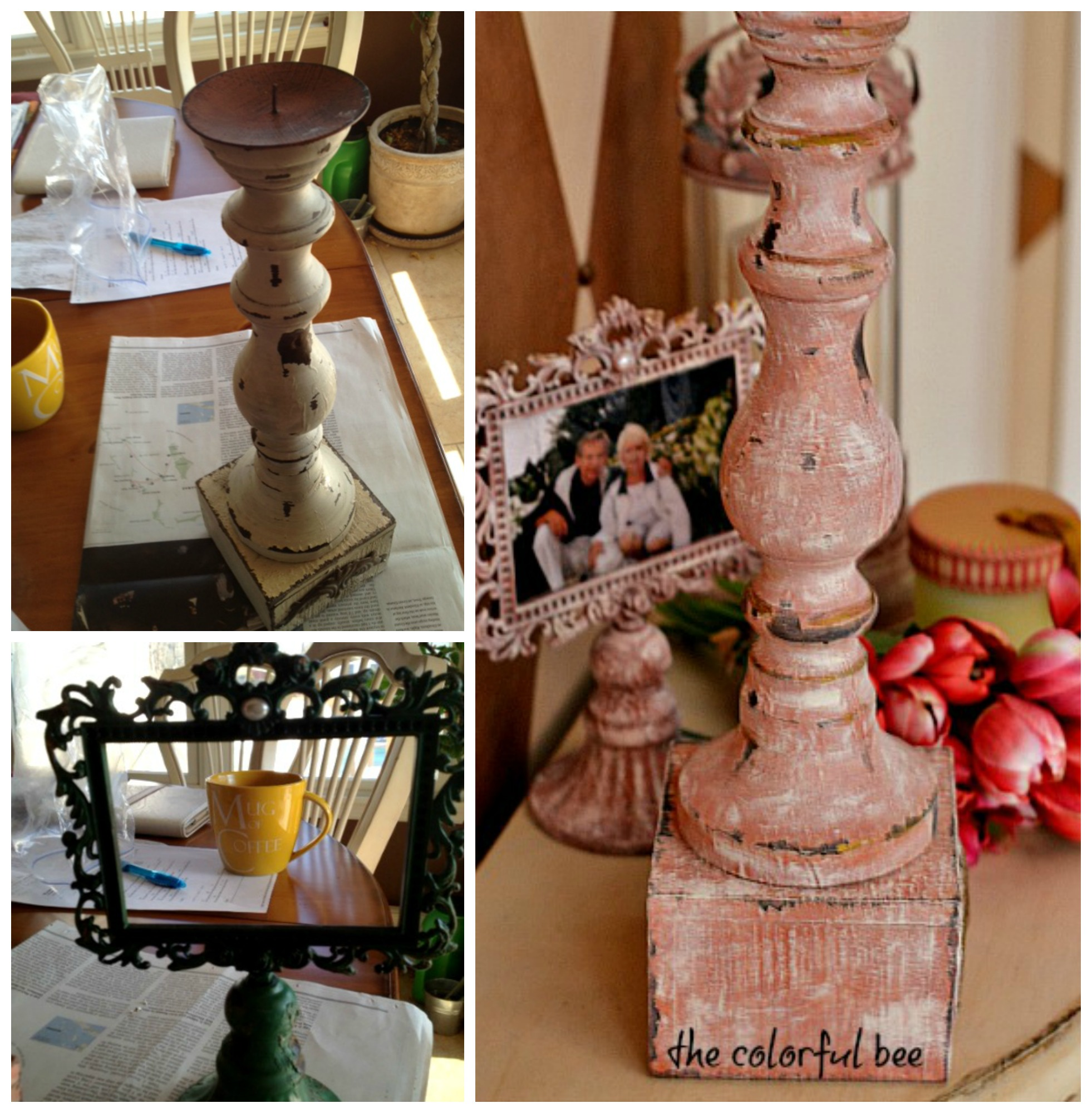 candleholder and frame redone with Annie Sloan Chalk Paint