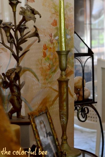a variegated leaf candleholder