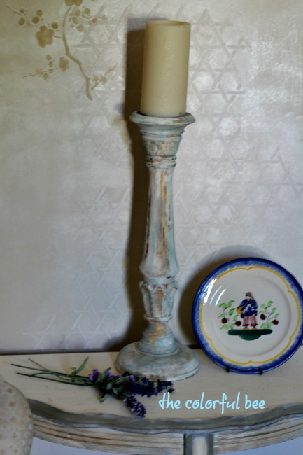 Chalk Painted candle holder antiqued