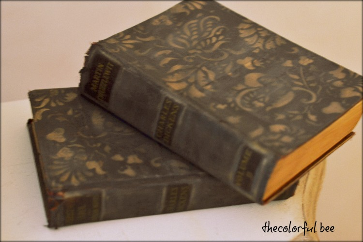 closeup of books painted with Miss Mustardseed's Milk Paint