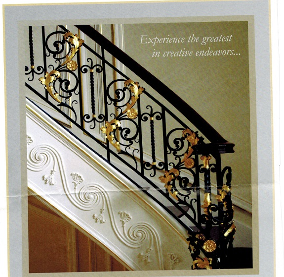 gold leafed wrought iron staircase
