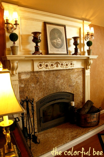 Soft, Suede-Like Plaster & Antiqued/Gilded Mantle
