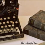 Miss Mustand Seed's Typewriter Milk Paint on an old book with a Royal Design Studio stencil