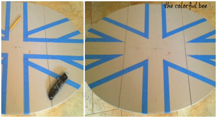 Taping off the Union Jack design on furniture