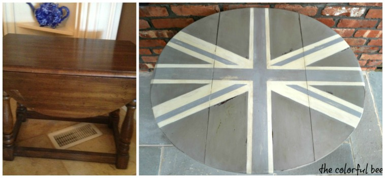 a before and after pic of a painted Union Jack table with Annie Sloan Chalk Paints