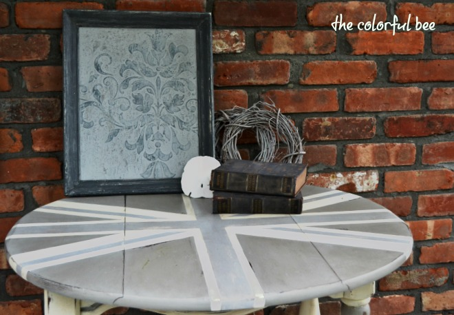 table top with Union Jack painted with Annie Sloan Chalk Paint