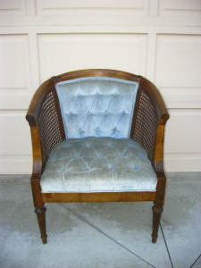Before - not the exact chair but very close - except with pink velvet
