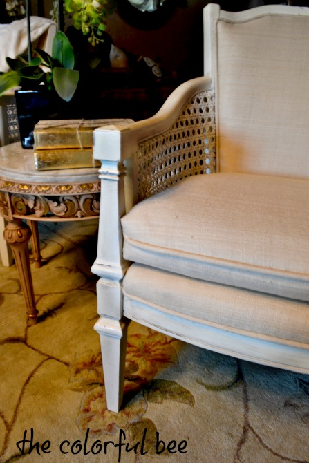 vintage caned chair revamped and antiqued with Annie Slaon Chalk Paints