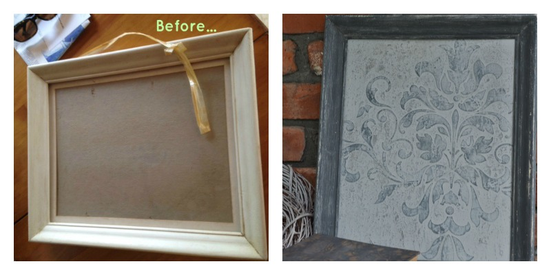 before and after of the Chalk Painted frame