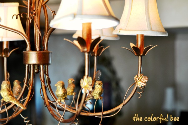 bronze painted and gilded chandelier