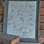 closeup of raised stencil artwork using Annie Sloan Chalk Paint