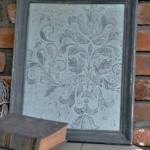 closeup of raised stencil artwork using Annie Sloan Chalk Paint