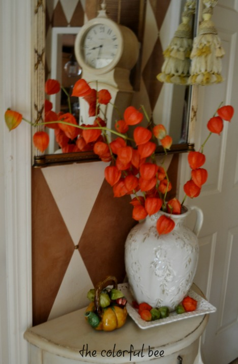 Chinese lantern pods in a floral arrangement