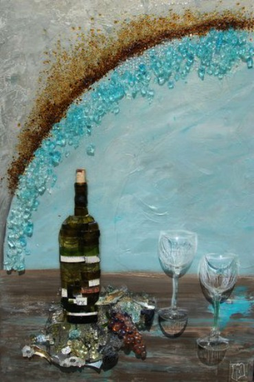 glass art with wine bottle and wine glasses