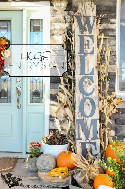 porch decorated for fall The Woodgrain Cottage