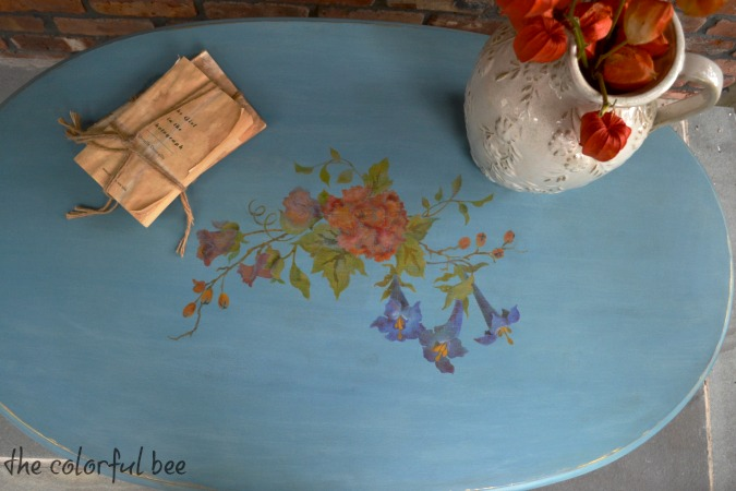 Louis Blue Chalk Painted and stenciled coffee table