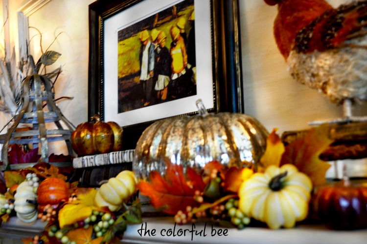 decorating a fall fireplace mantle