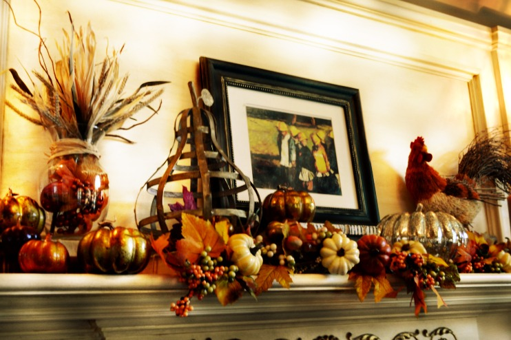fall mantel decorated with warm colors