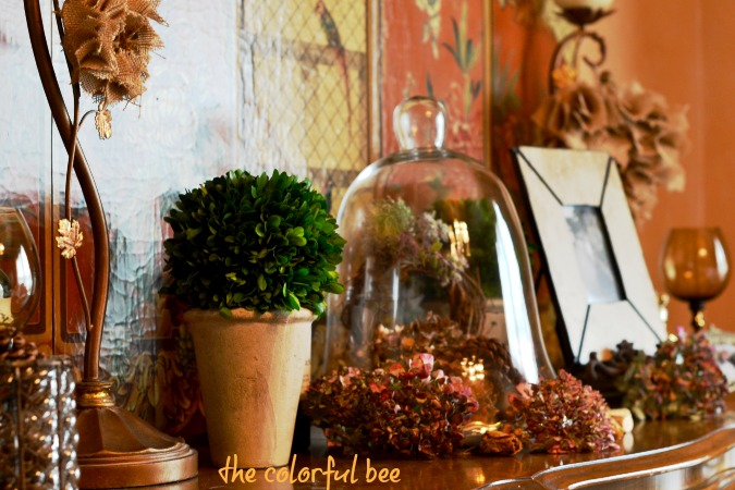 fall tablescape on server in dining room