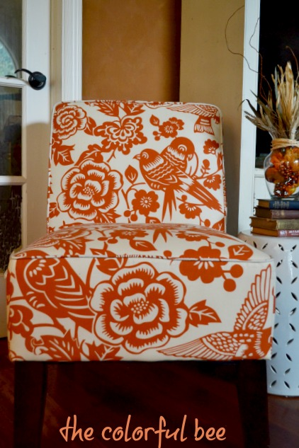 modern orange and cream patterned chair