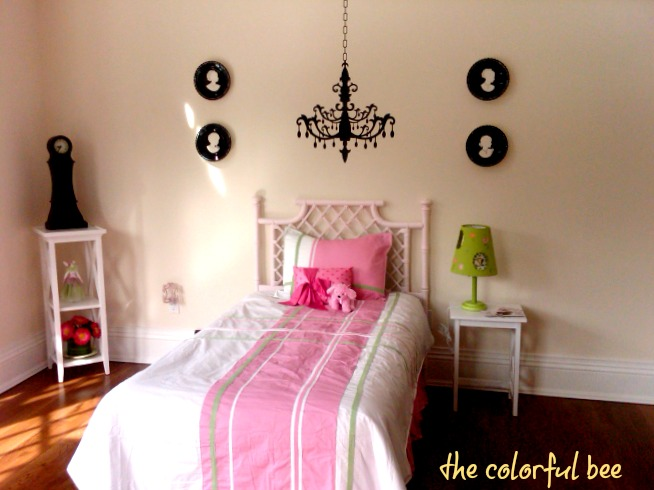 chandelier applique in a little girls staged bedroom