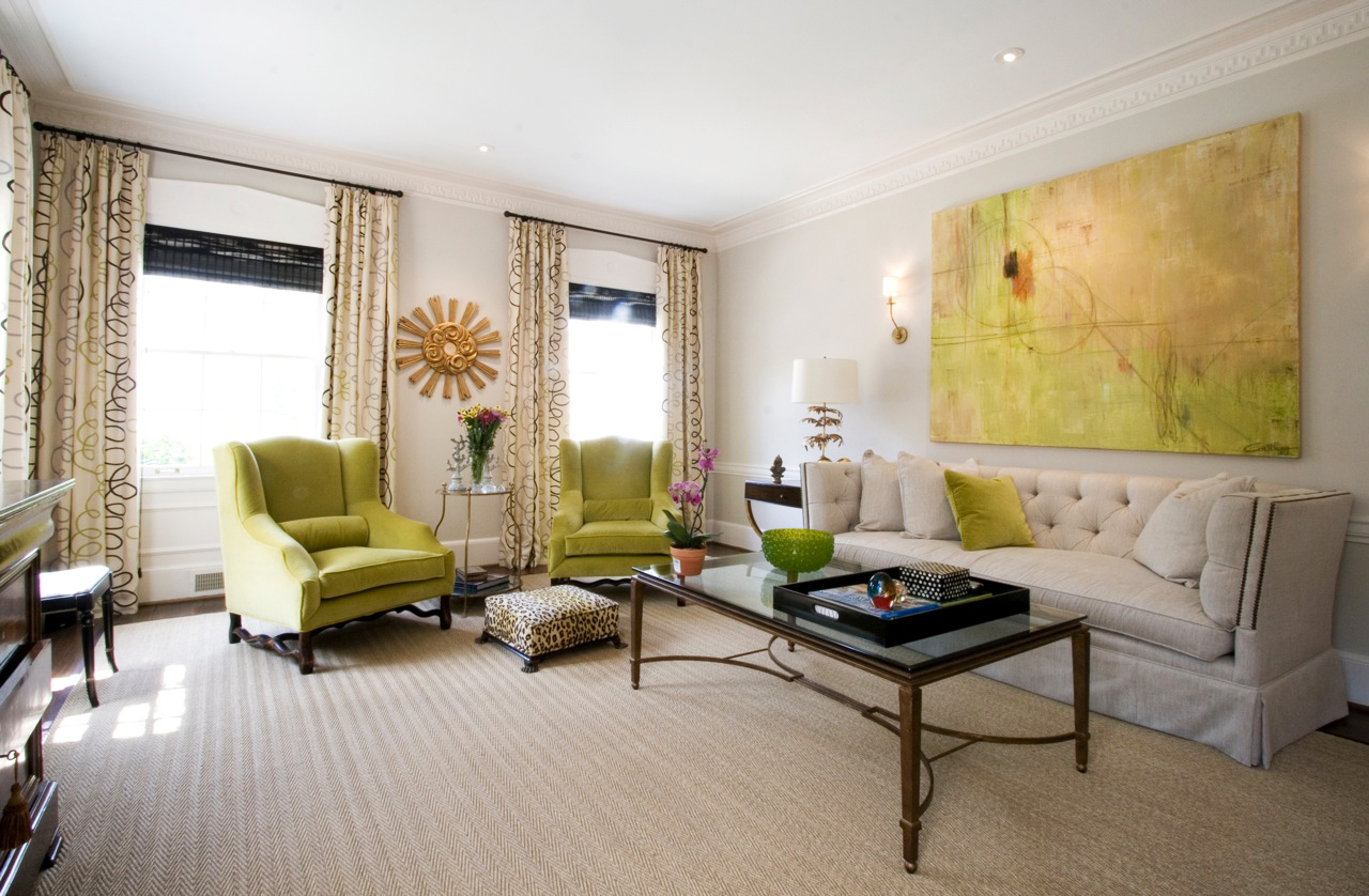 all white room with lime and yellow art and gold