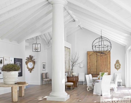 beautiful beams and columns in an all white room