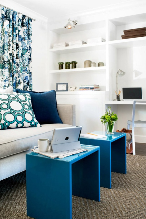 blue accents in a white room