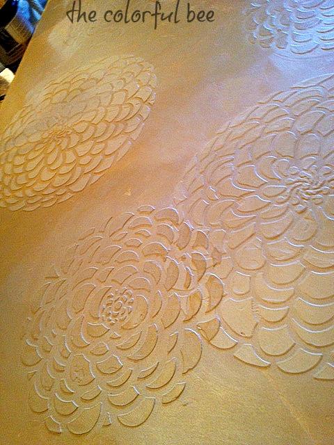 metallic plaster art with overlay glaze