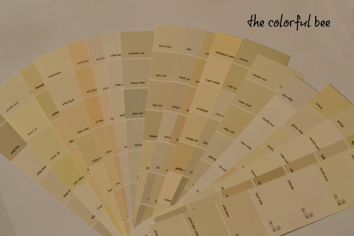 fan deck of Benjamin Moore whites and off whites