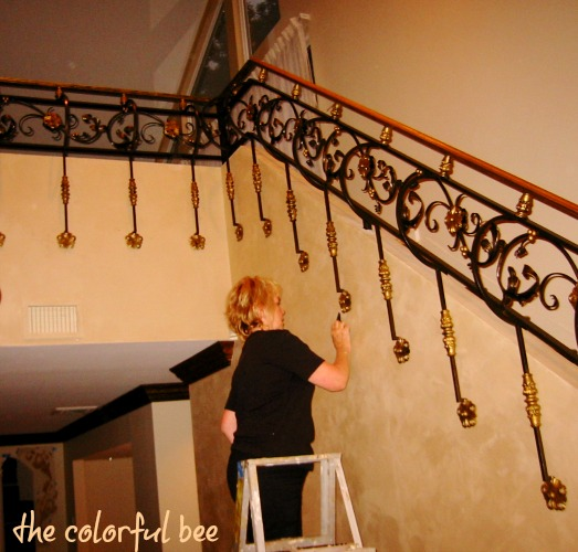 custom finish on a custom wrought iron staircase