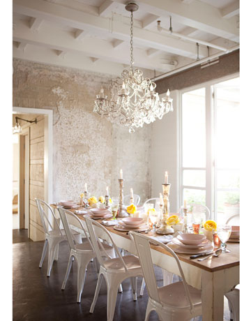 beautiful dining room with white textural walls