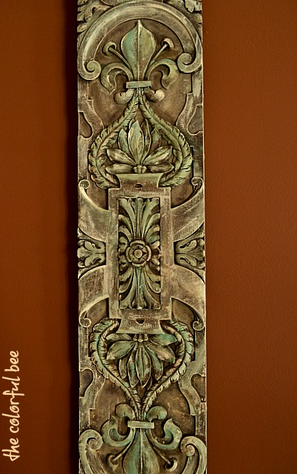 Chalk painted and antiqued ornamental board