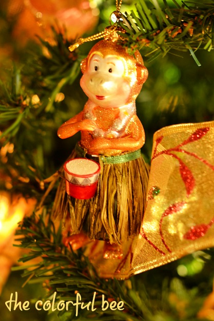 monkey play bongos Christmas ornament