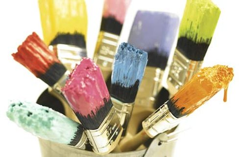 paint brushes with paint