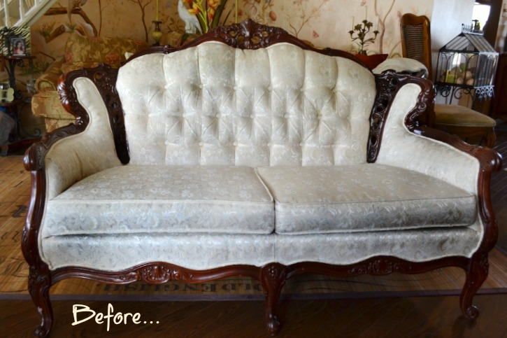 a cheap fabric loveseat before Chalk Paint transformation